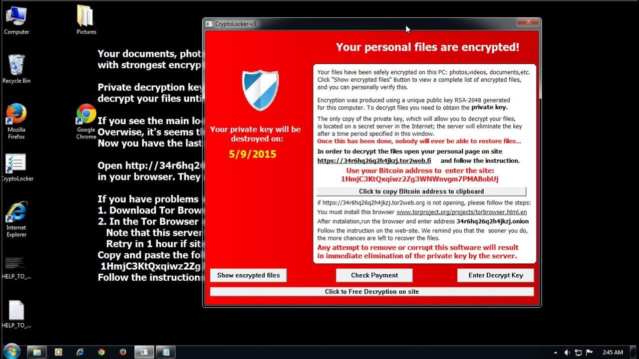 Example of cryptolocker virus